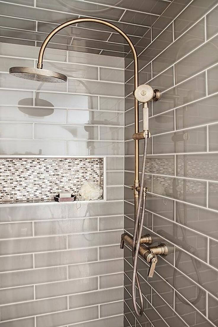 slate and sky brick and miniature shower tiles - Shower Tile Design Ideas