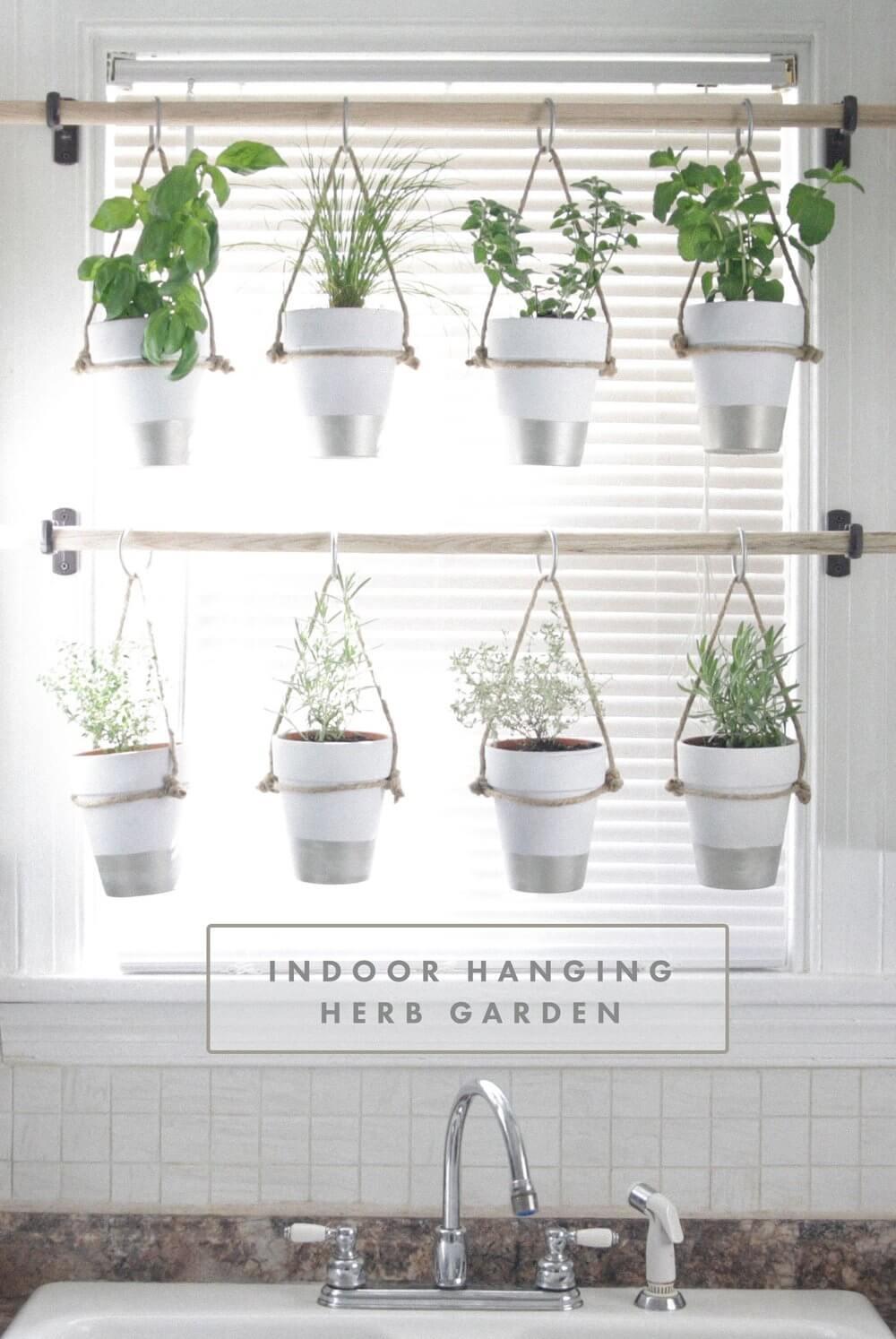 Painted Pots Hanging Herb Garden
