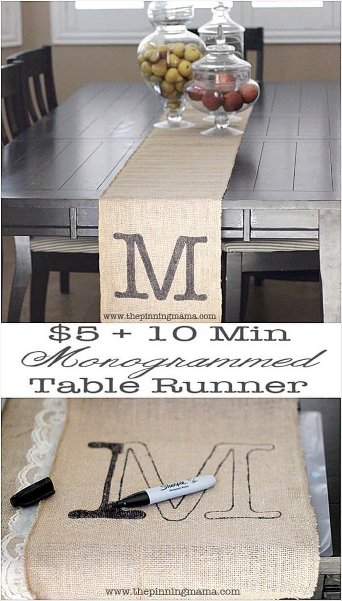 Country Banquet Monogrammed Burlap Table Runner