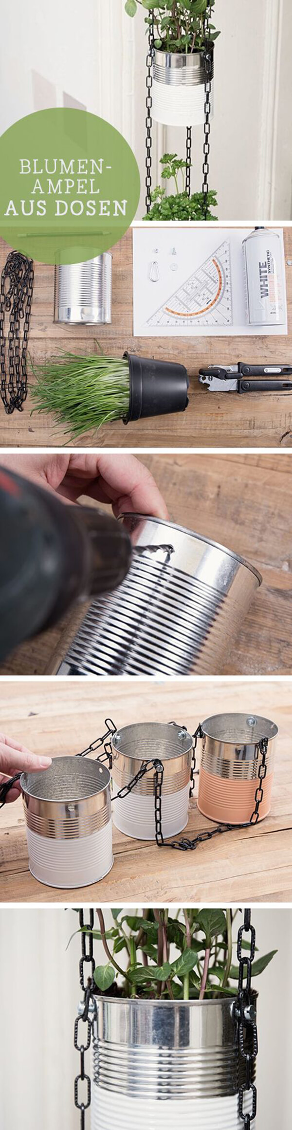 Vertical Hanging Tins Herb Garden