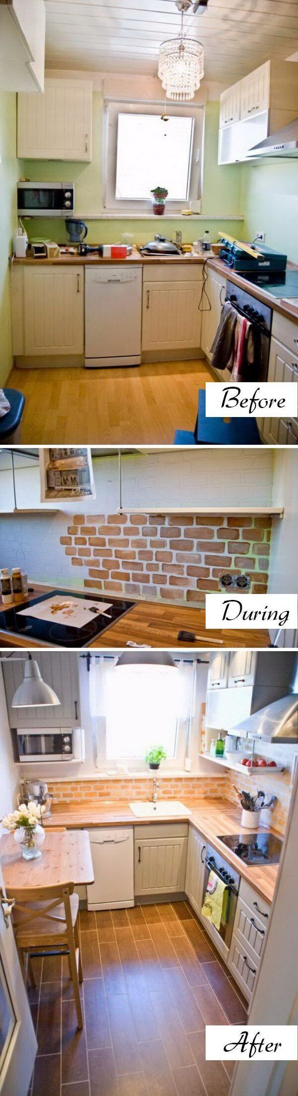 A Unique Brick Backsplash and Breakfast Nook
