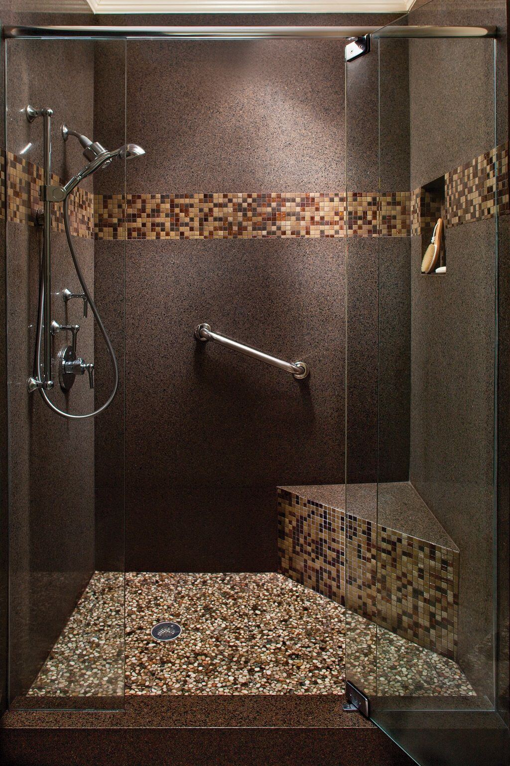south by southwest multi tiered shower design - Shower Tile Design Ideas