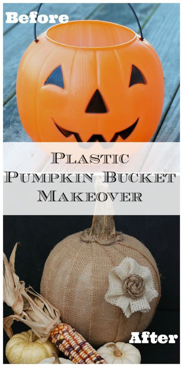 Halloween Chic Burlap Covered Pumpkin Bucket