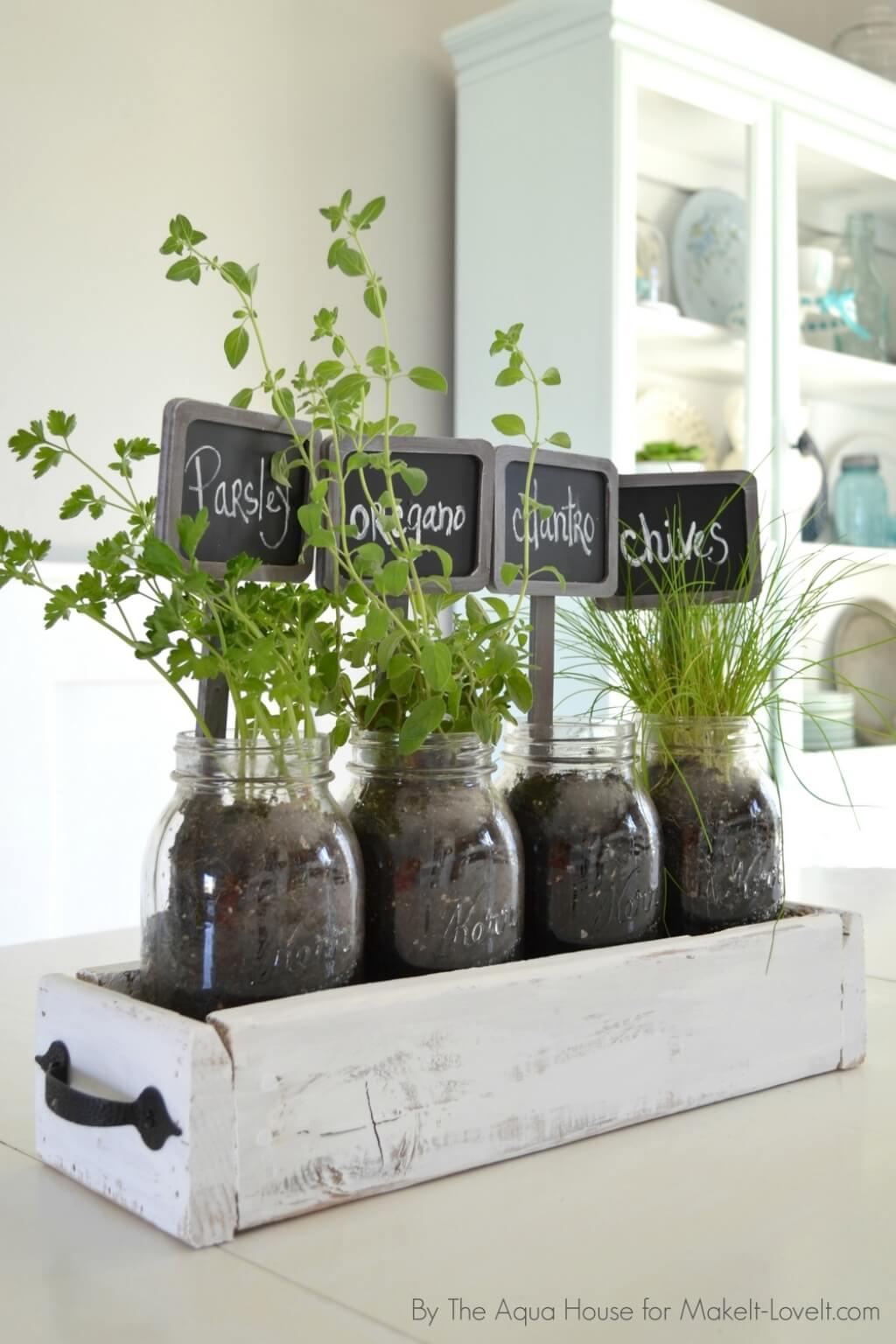 Window Box And Mason Jar Herb Garden