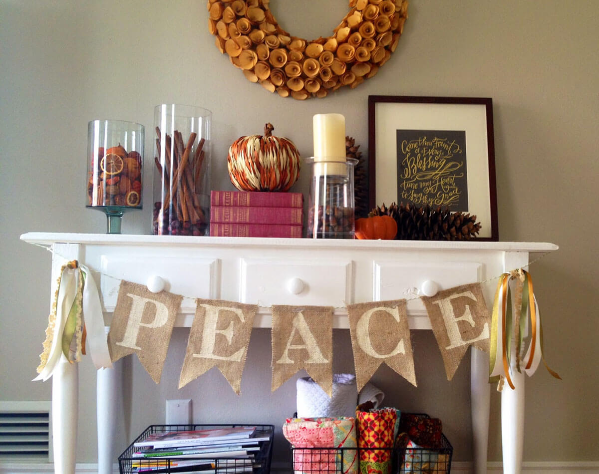 Hearth Greetings Burlap Flag Banner