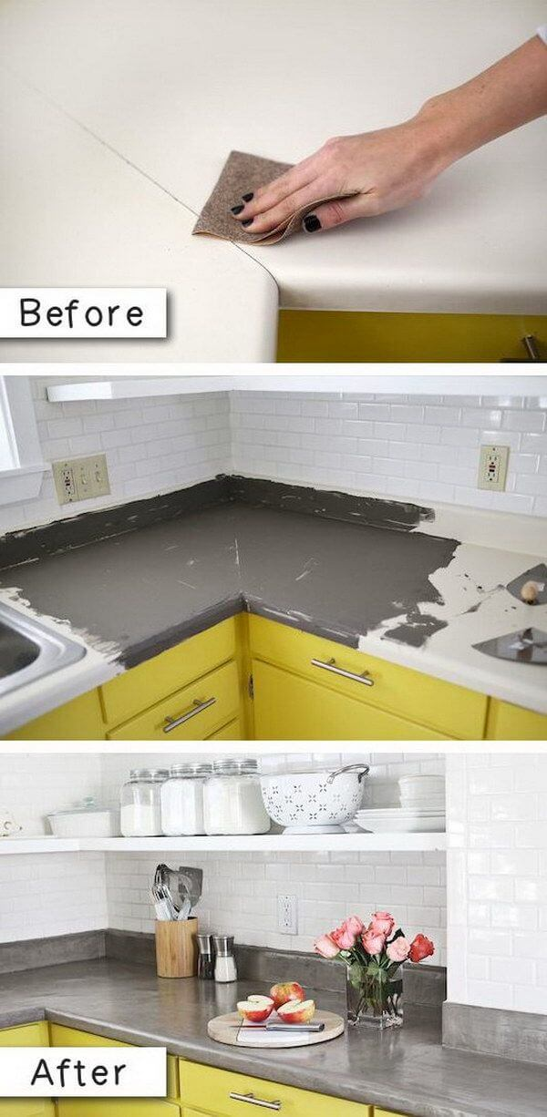 Refinished Countertops with a Pop of Color