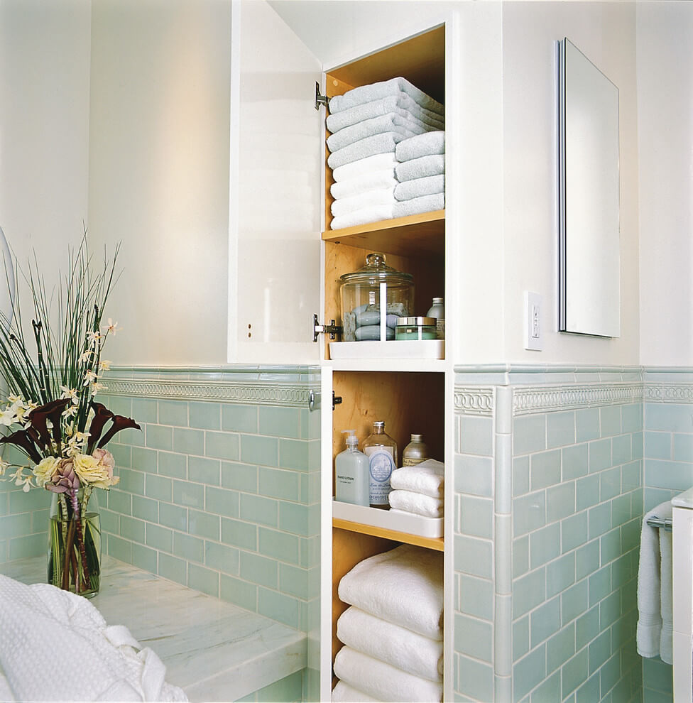 Beautiful Bathroom Built-ins Keep Clutter to a Minimum