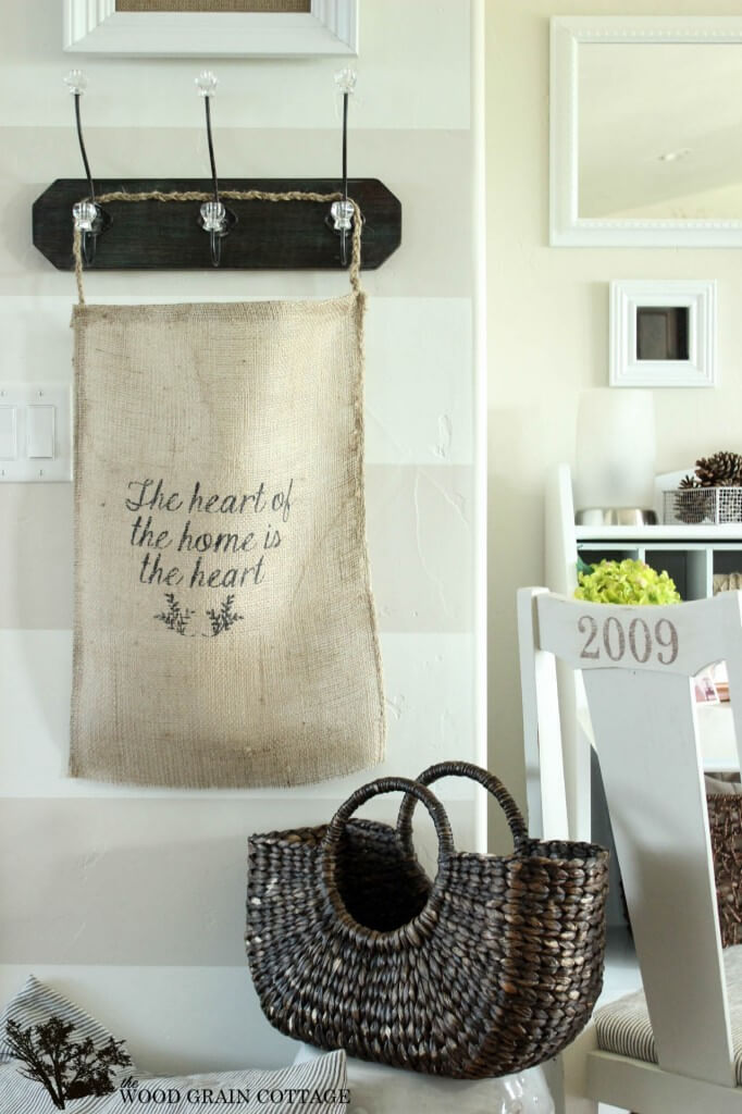 Homespun Harmony Burlap Hook Sack