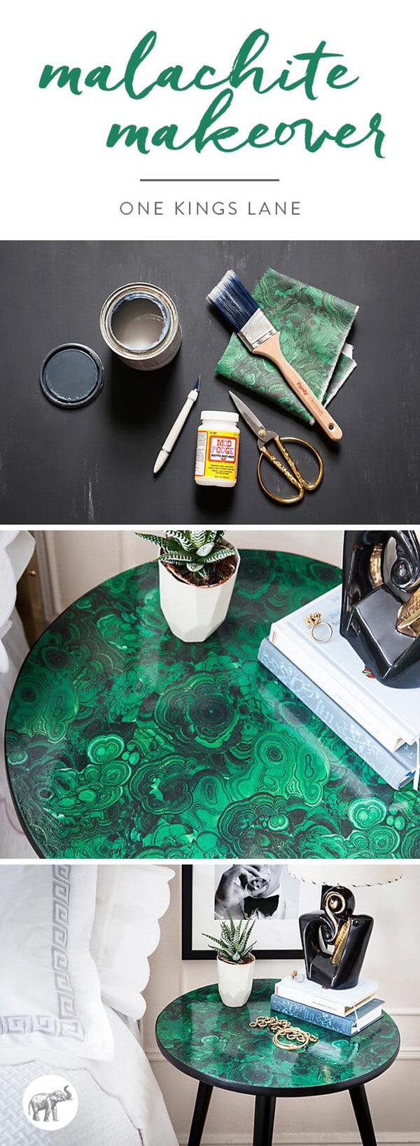 DIY Book Lover's Marbelized Side Table
