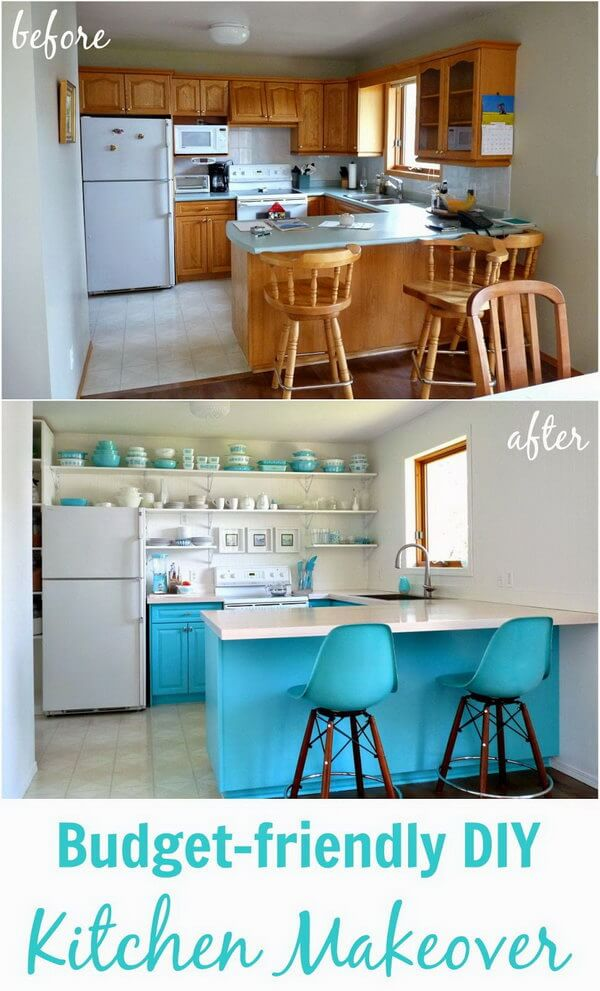 Kitchen Shelving with Baby Blue Accents