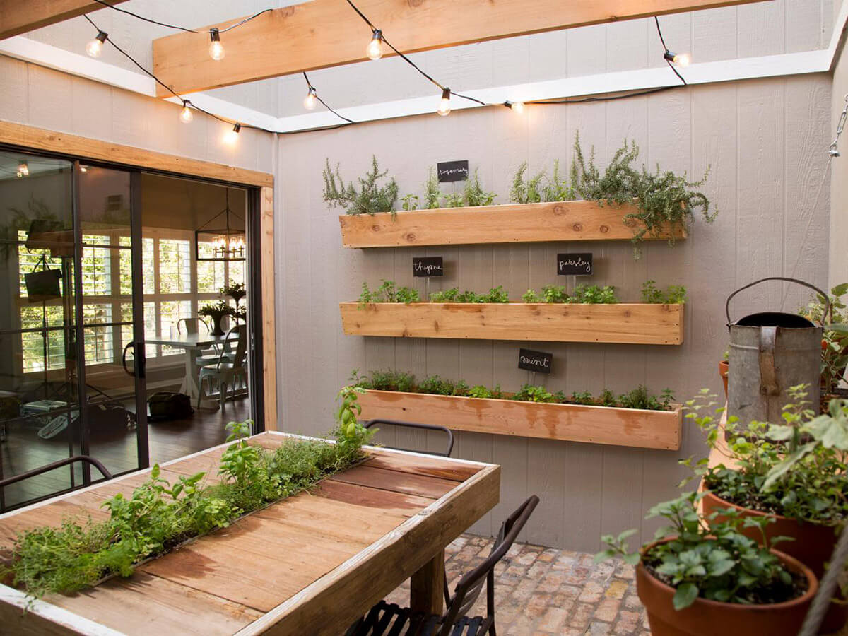 Three-Way Sun Room Herb Garden