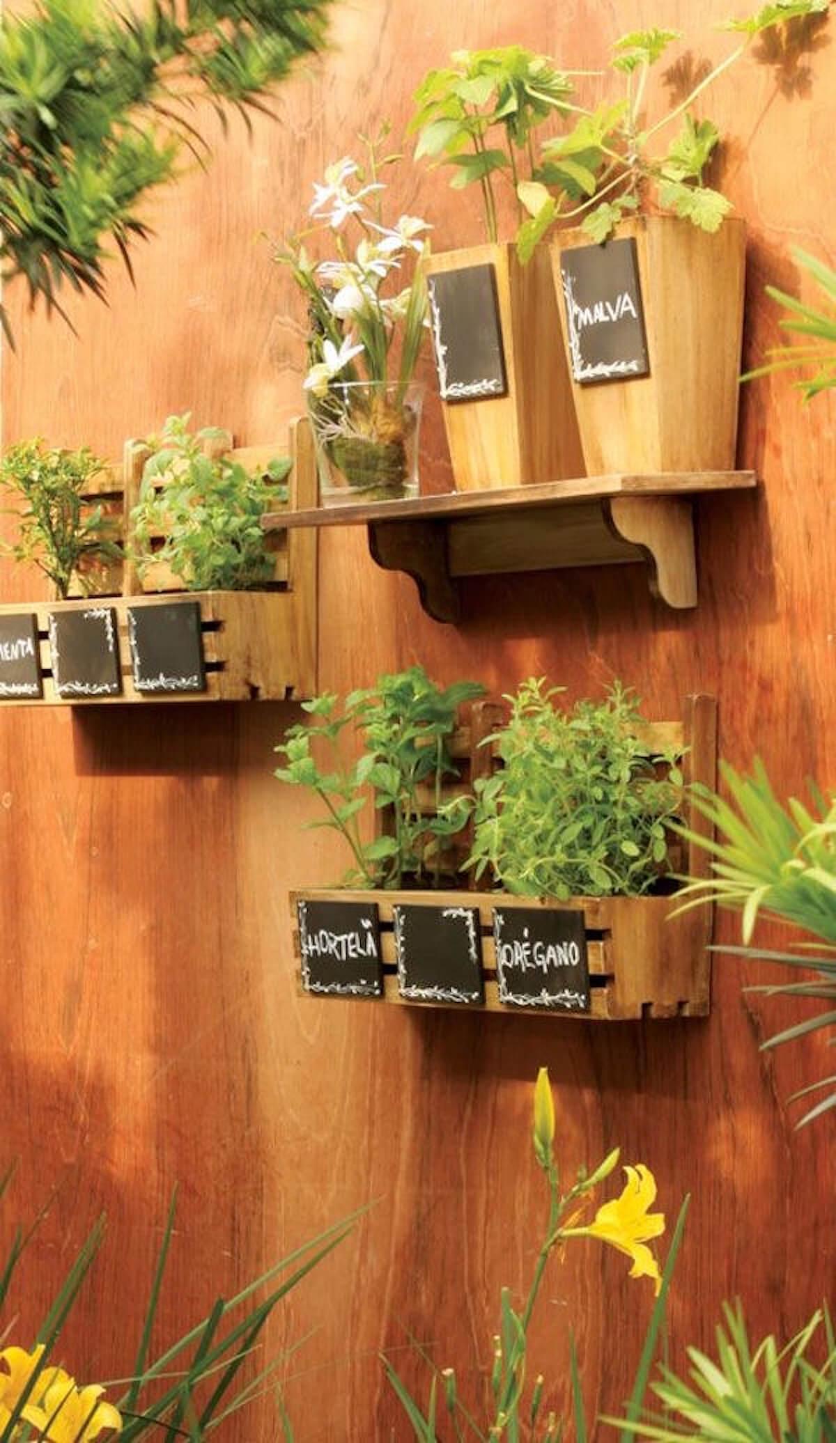 Decorative Wooden Box and Vase Herb Garden