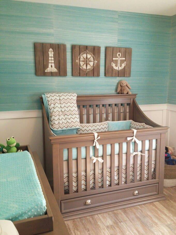 Blue, Grey, and Wood Tones for a Subtle Nautical Feel