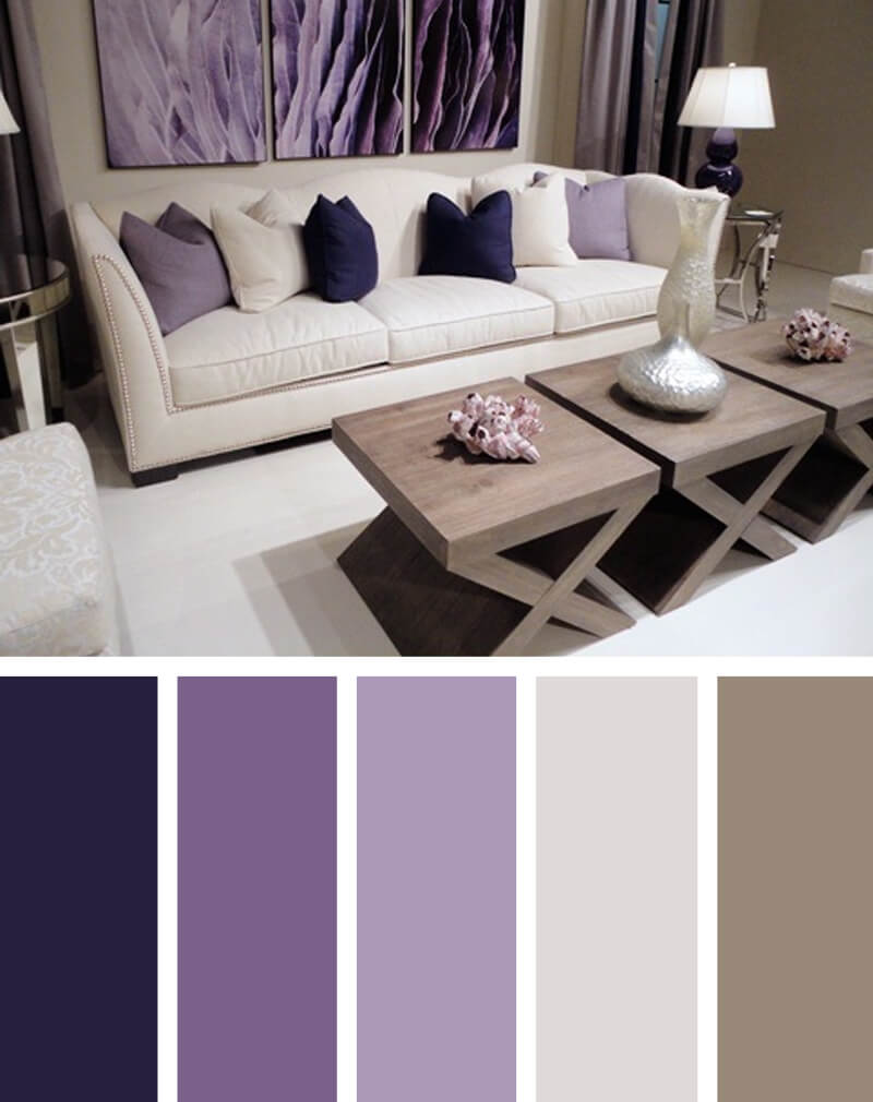 Purple living room color schemes for Living room color combination ideas