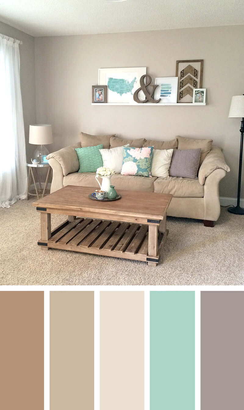 turquoise and beige living room