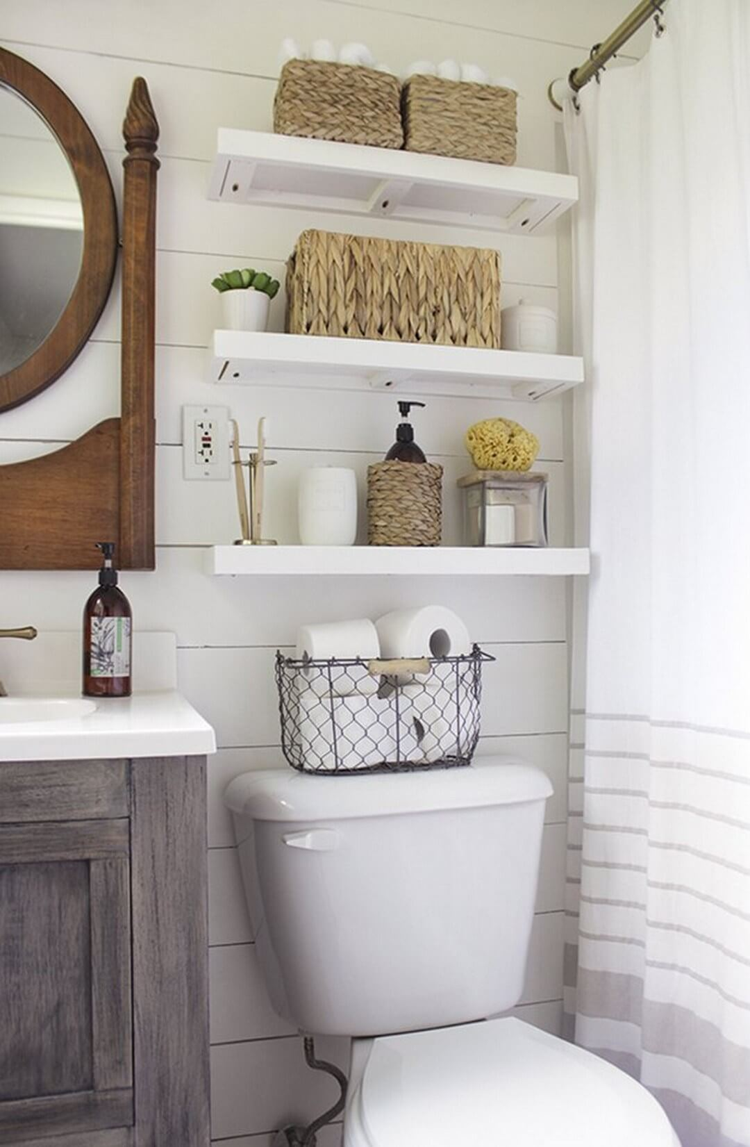 32 best over the toilet storage ideas and designs for 2018 Over the toilet design ideas