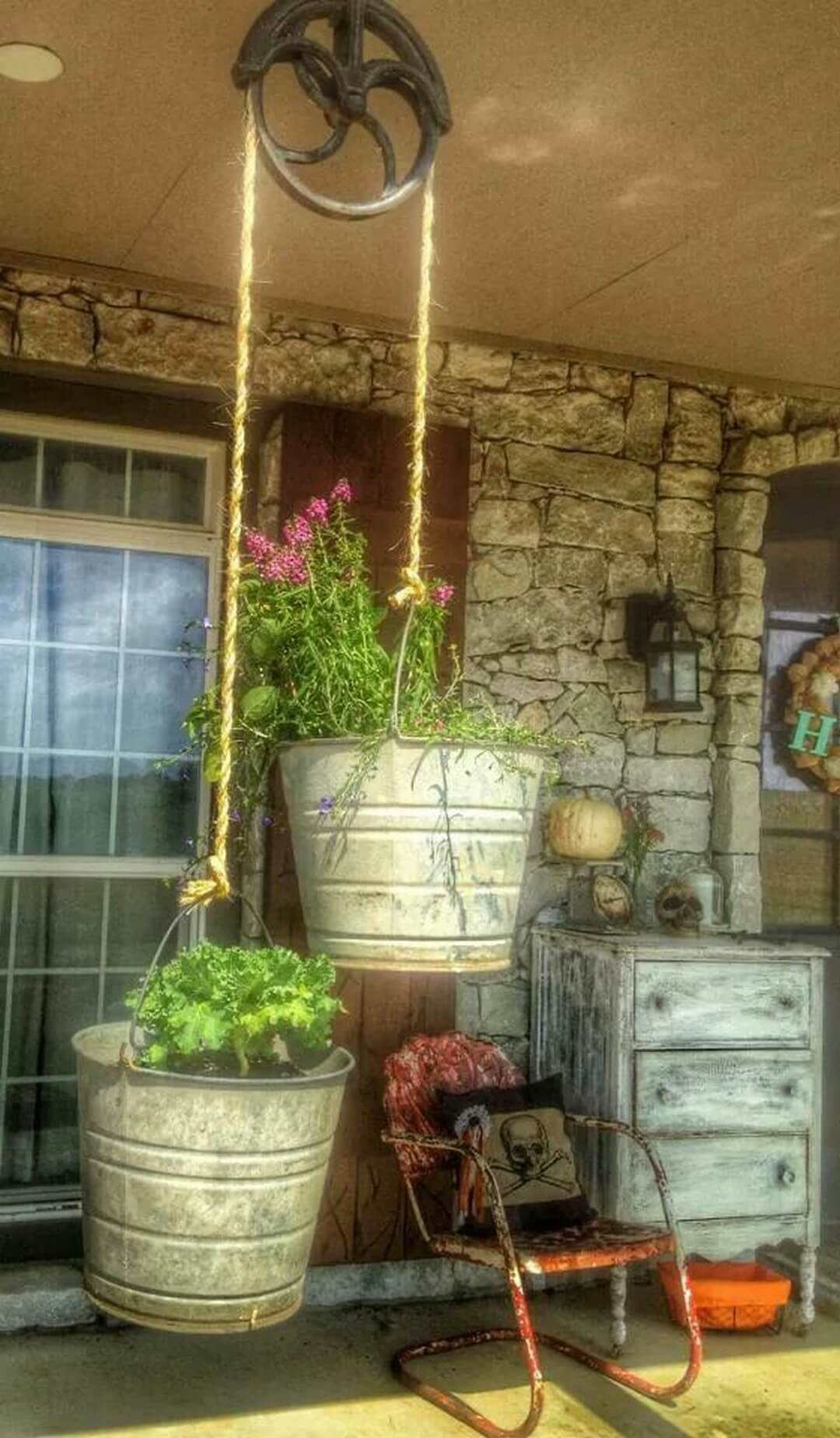 Hang Your Flowers in Galvanized Buckets