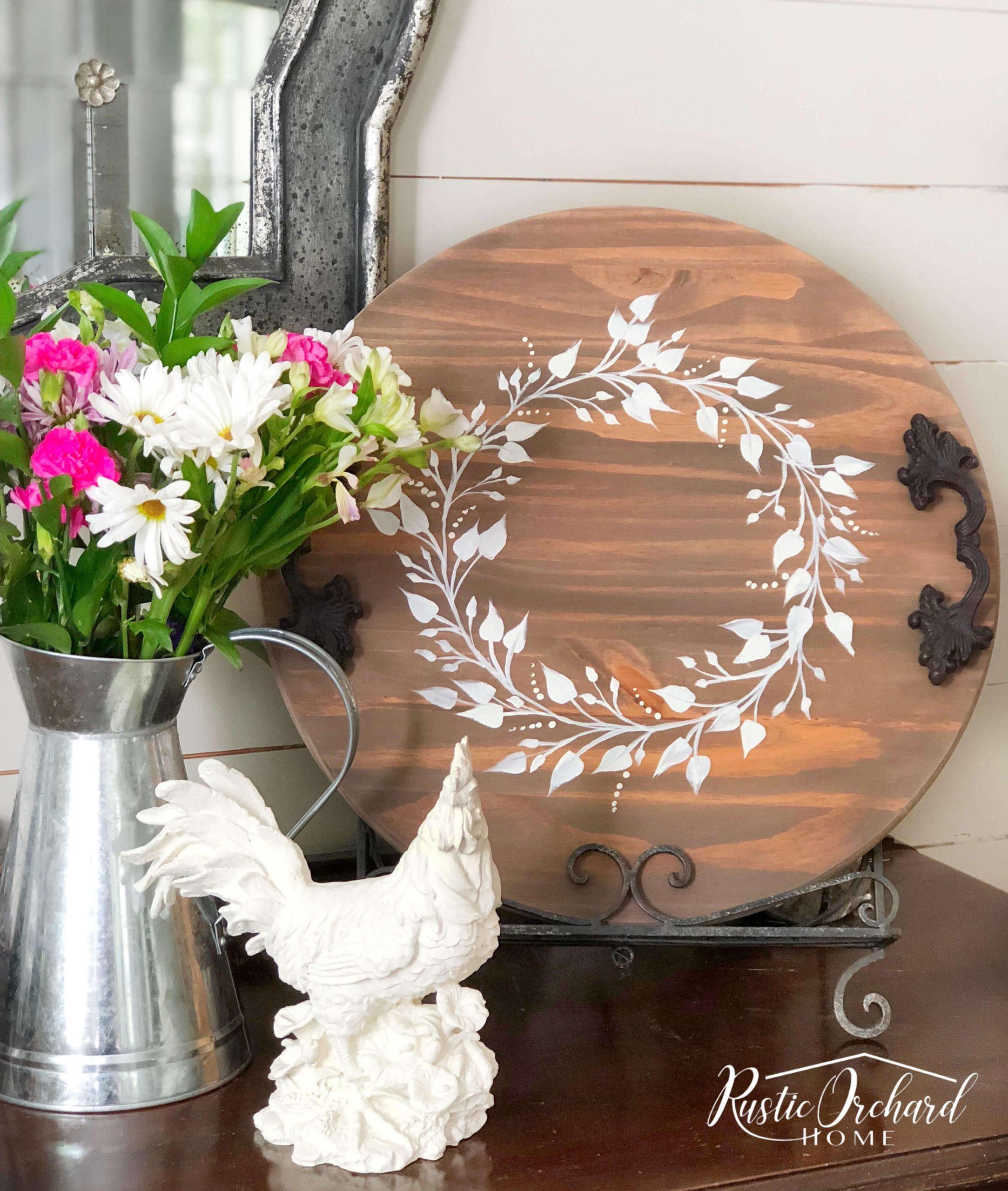 White Wreath Stenciled on Circular Board