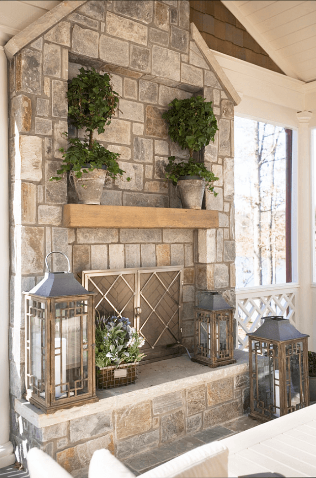 stone fireplace with above mantle inset - Stone Fireplace Design Ideas