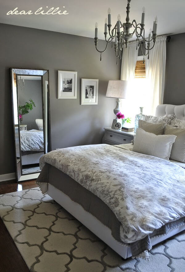 Superb Charming Patterns And Fresh White Accents Adorn A Solid Grey Base Bedroom
