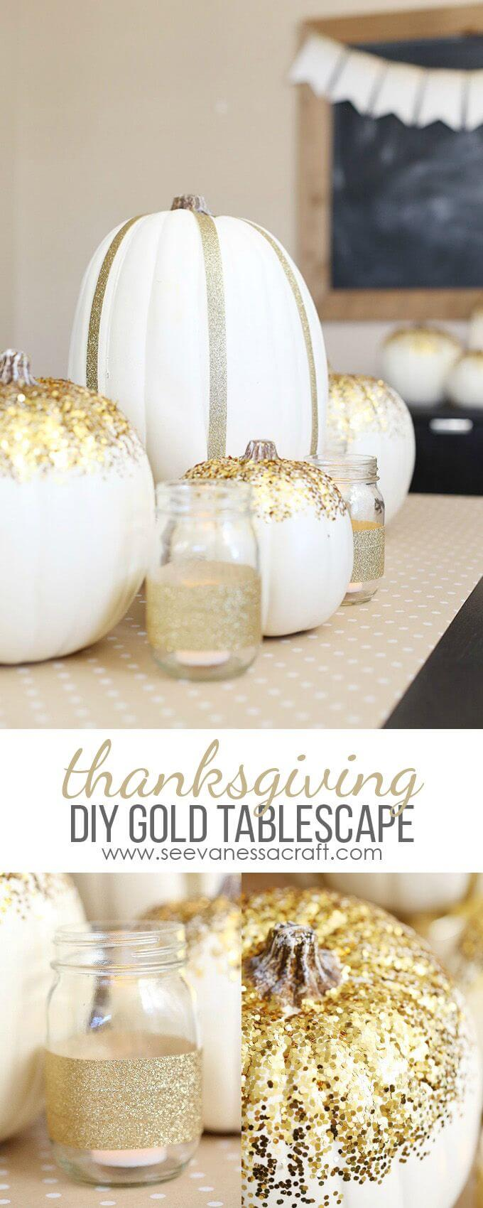 Glitter and Gold Centerpiece Featuring Pumpkins