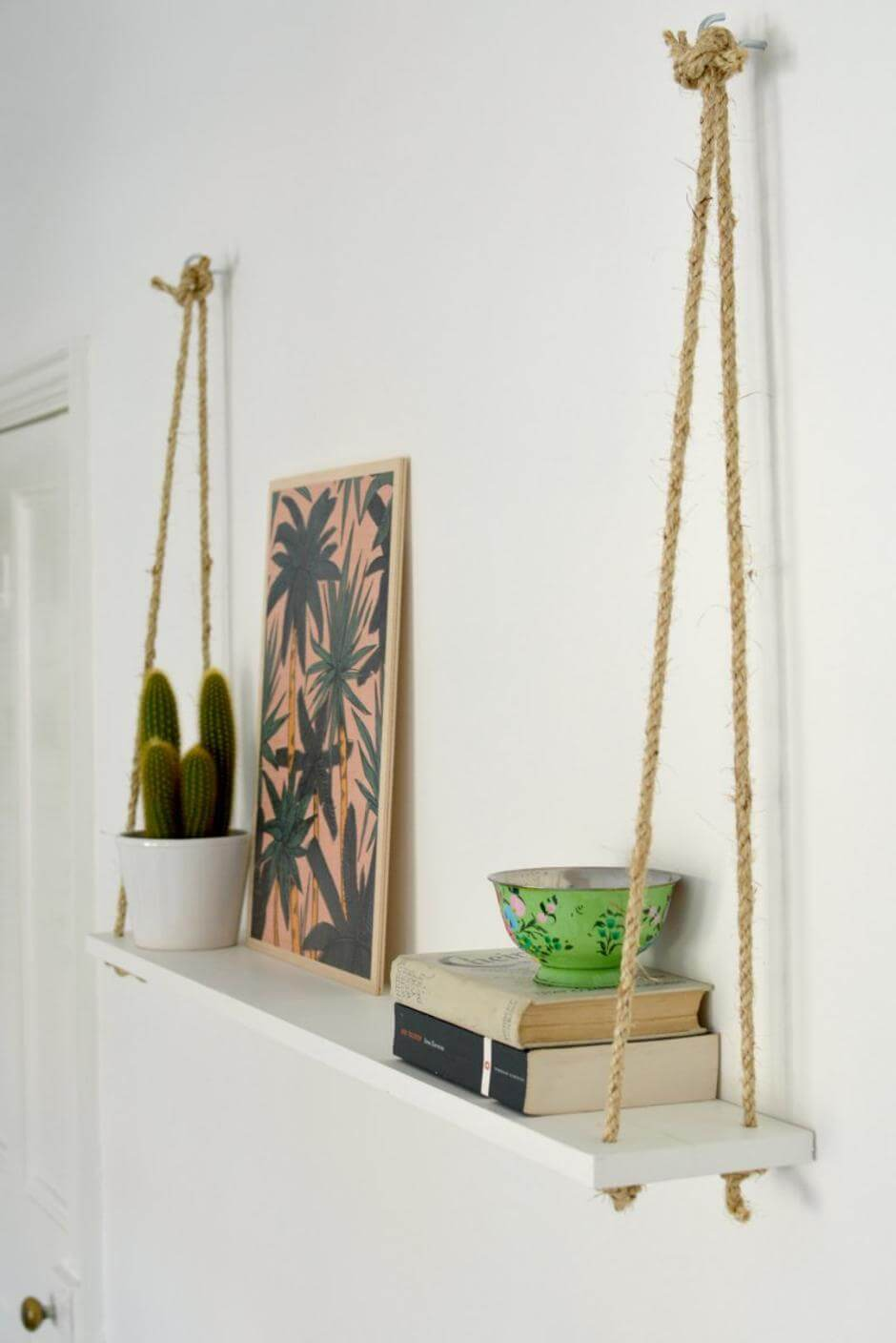 Rope and Board Hanging Shelf