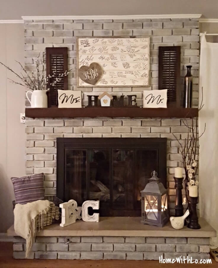 Neutral Theme And Dark Mantle Update Ranch Fireplace