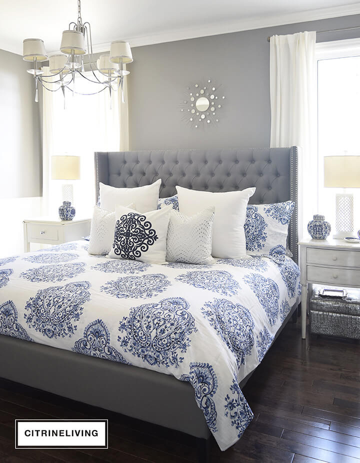 Grey Bedroom Decor Bright, Cool Blue Patterns Add a Lush Touch to this Sleek Grey Bedframe