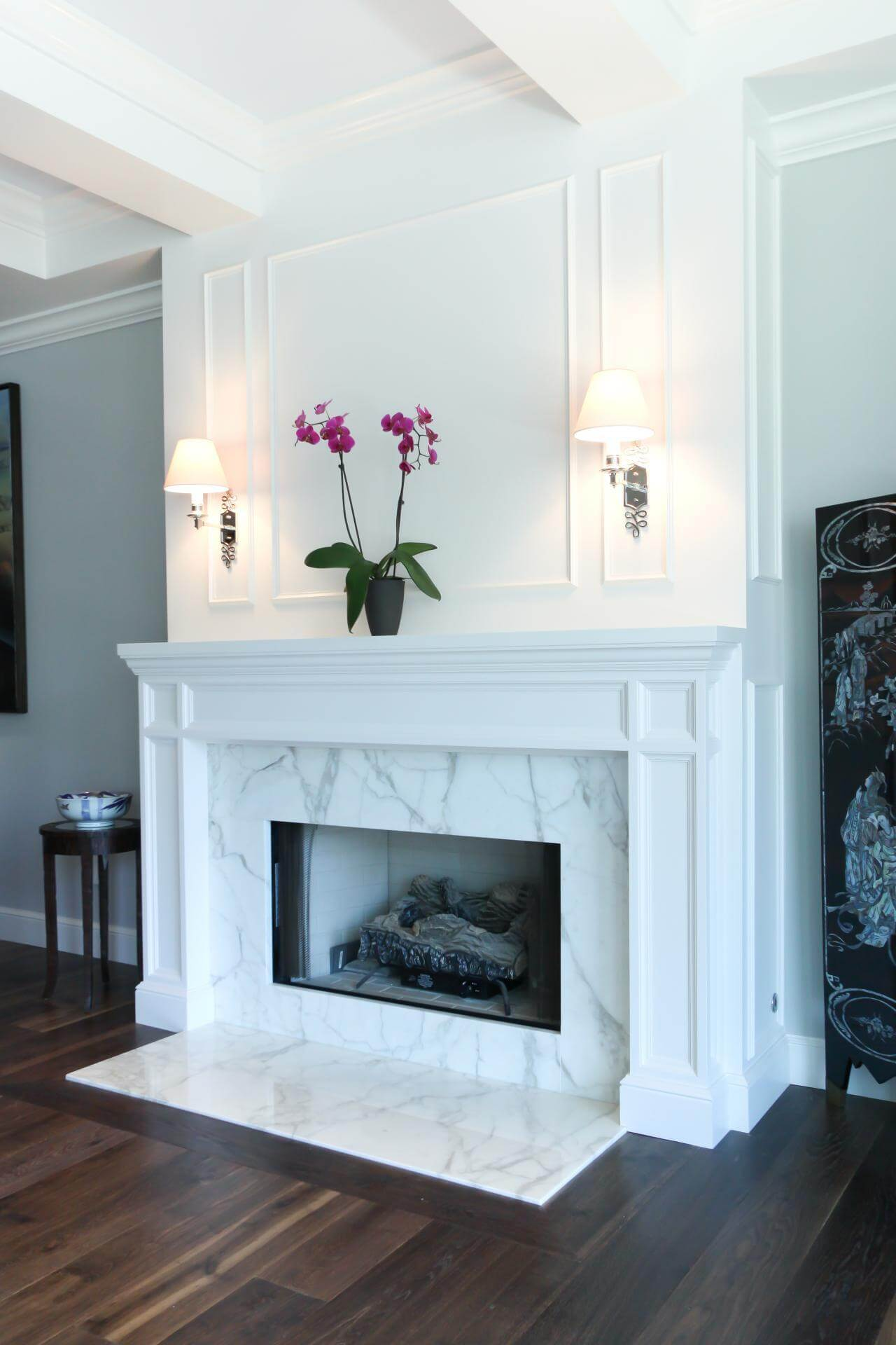 fireplaces white brown fireplace surround surrounds mosaic wooden and dark htm tile vision marble