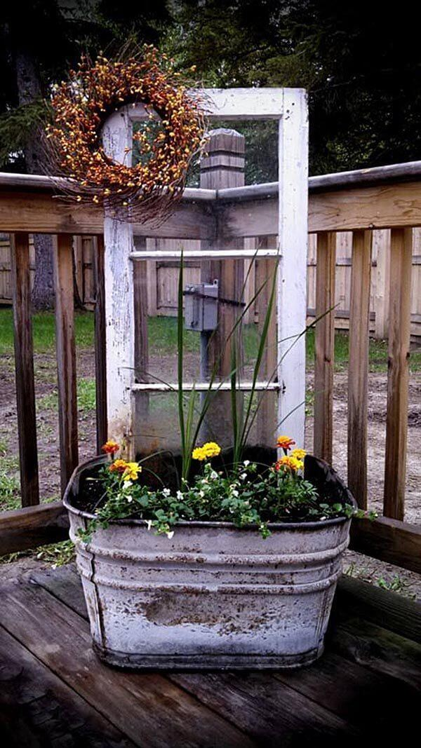 Wash Tub Turned Corner Deck Planter