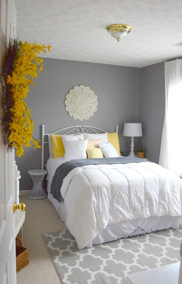 Gentil Bursts Of Yellow Provide Warm Energy In These Soft Grey Bedroom
