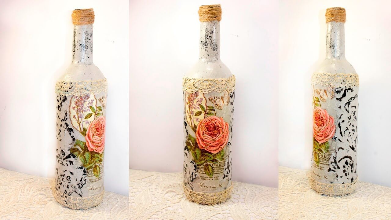 Awesome Wine Bottle Crafts Part - 13: 6. Fancy Floral And Pretty Pastels