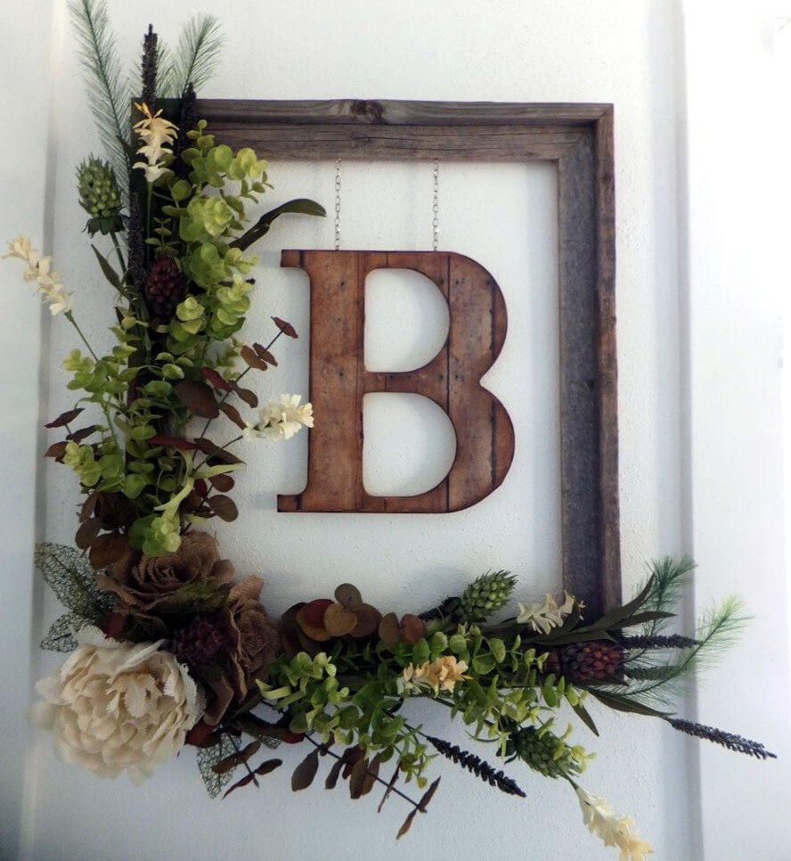 7. Rustic Floral Framed Monogram & 25 Best Fall Door Wreath Ideas and Designs for 2018