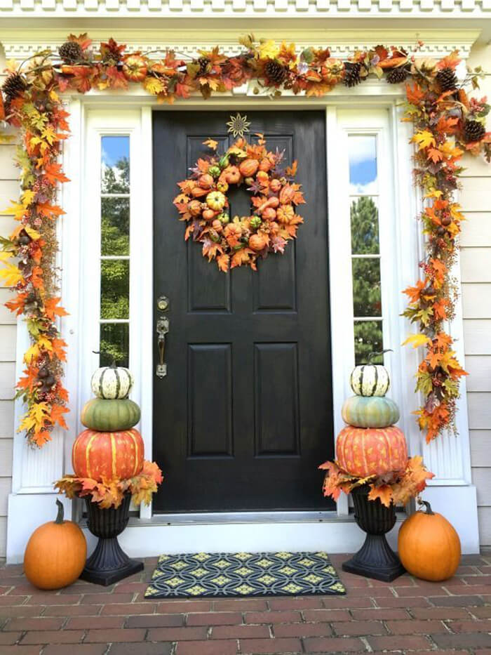 Pumpkins and Leaves Garland and Wreath