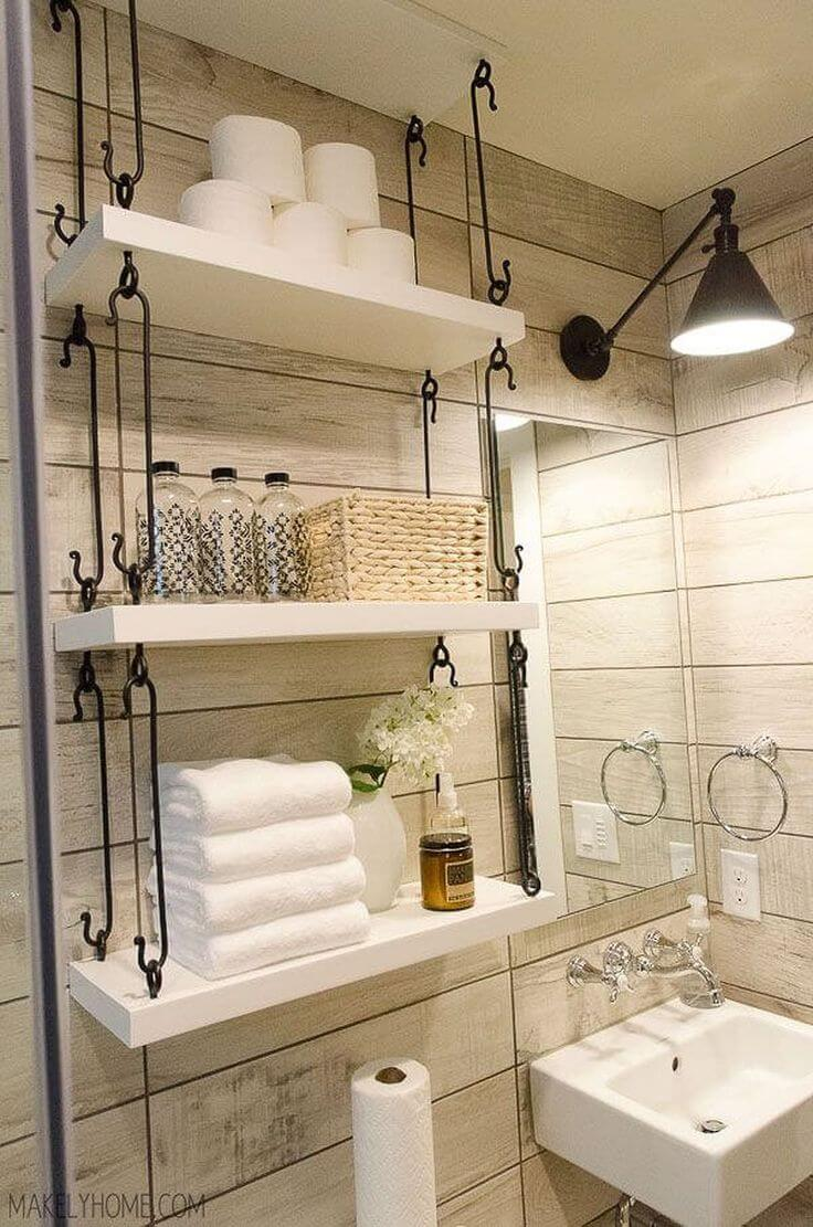 Nice Farmhouse Bathroom Hanging Over Toilet Shelves