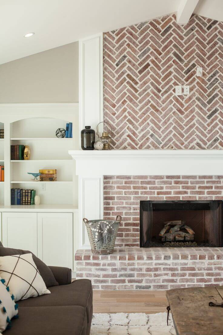Red Brick Texture Makes Fireplace Stand Out