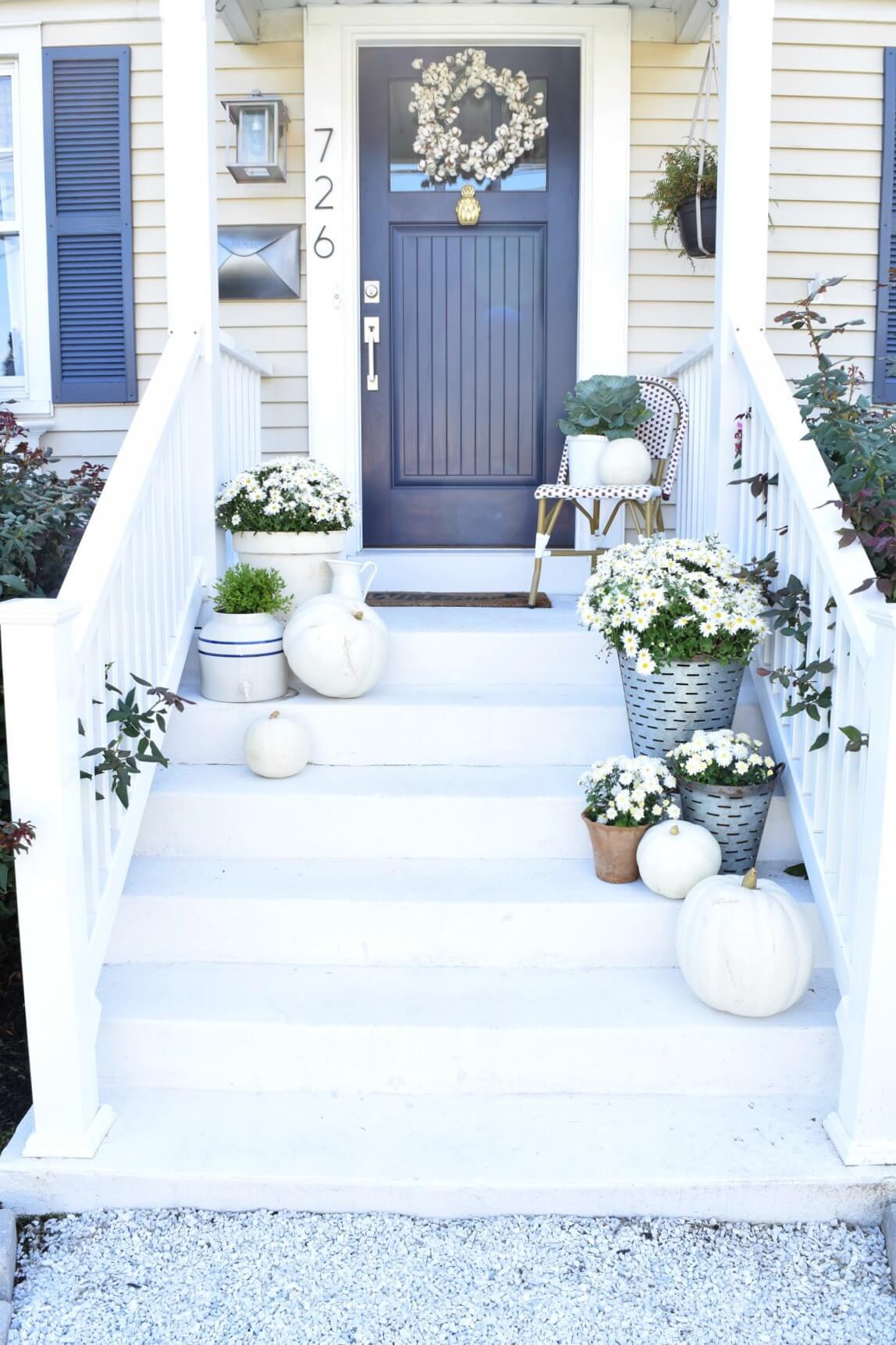 White Pumpkin and Mum Display