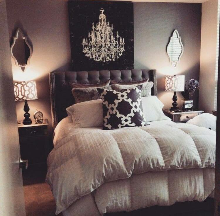 Plush Bed Decorations Enhance This Warm Grey Bedroom Ideas