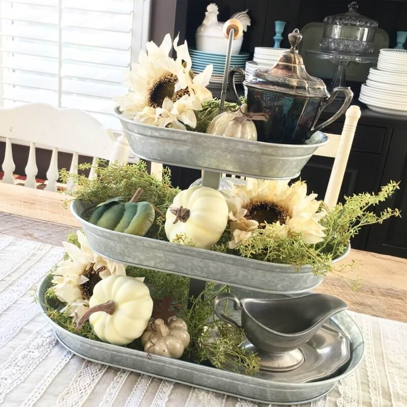 Tiered Antique Basins as a Centerpiece for Fall's Treasures