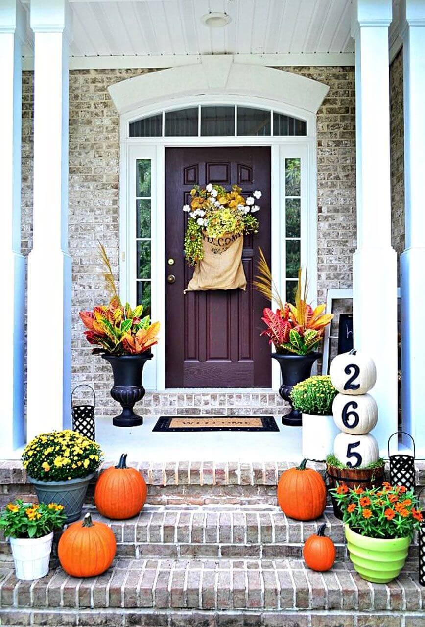 DIY Pumpkin House Number Decor