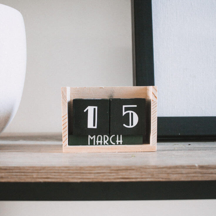 Wooden Block Reusable Perpetual Calendar
