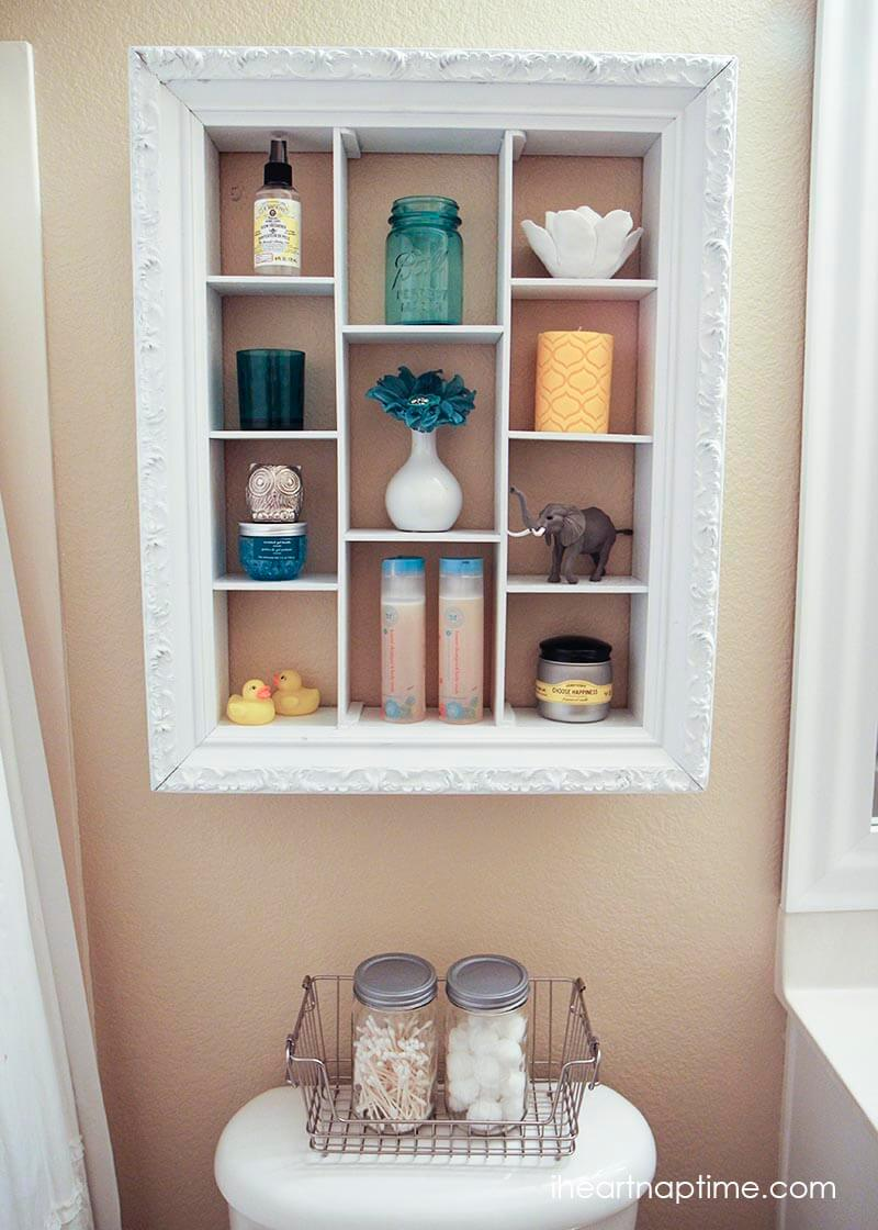 Over the toilet bathroom organizers - Repurposed Shadow Box Bathroom Organizer