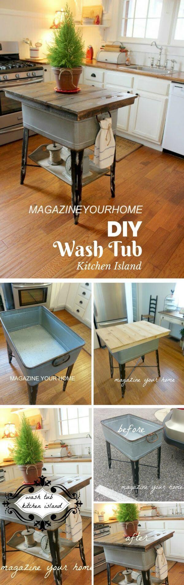 Whimsical Wash Tub Island for Country Home Charm