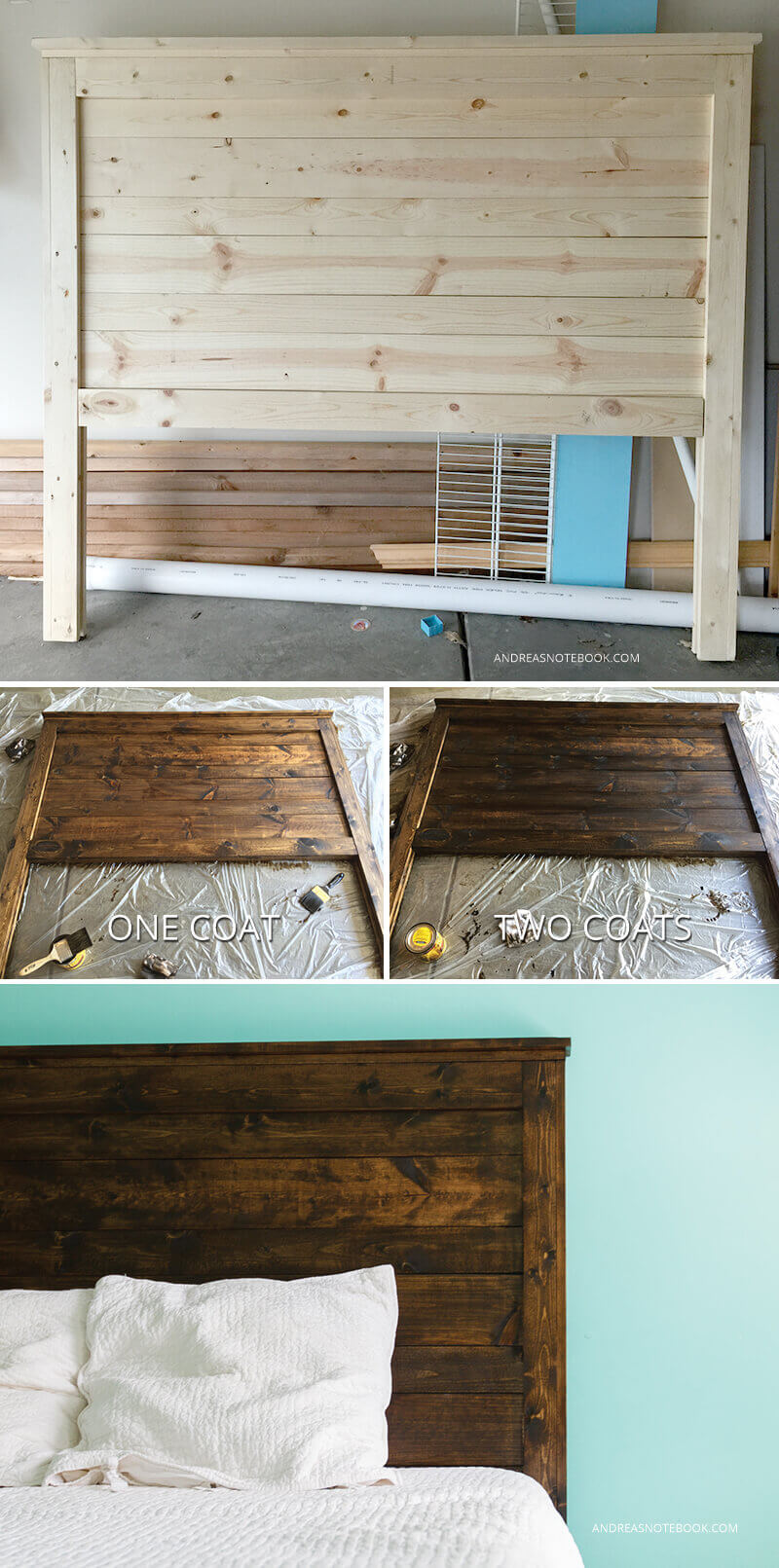 Classic Stained Wooden Headboard