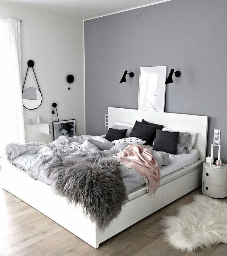 The Variation Of Textures Make This Minimalist Gray Bedroom Pop - Gray-bedroom-minimalist