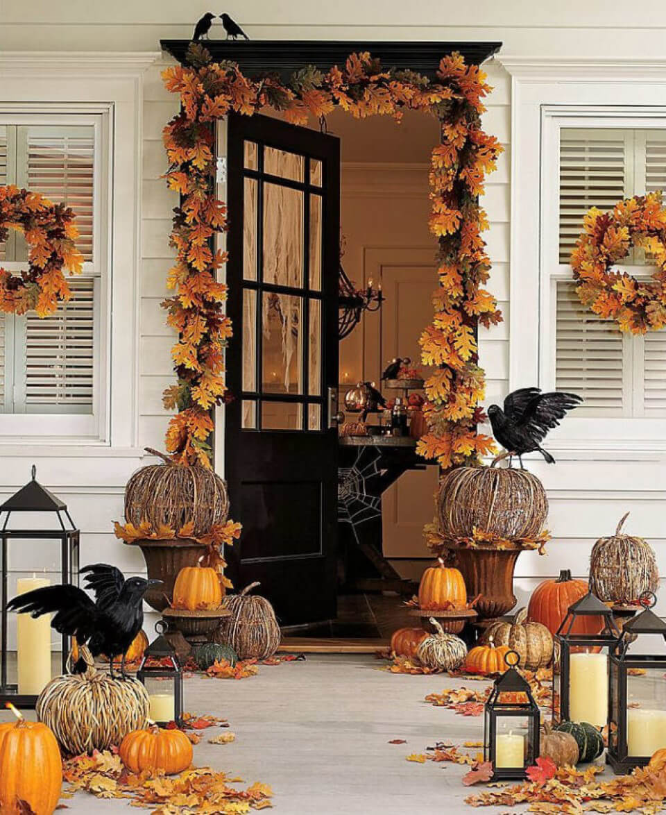 Spooky Fall Front Porch Display