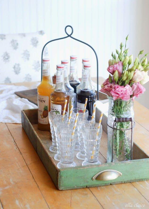 Tray for Drinks and Glasses from Recycled Drawer