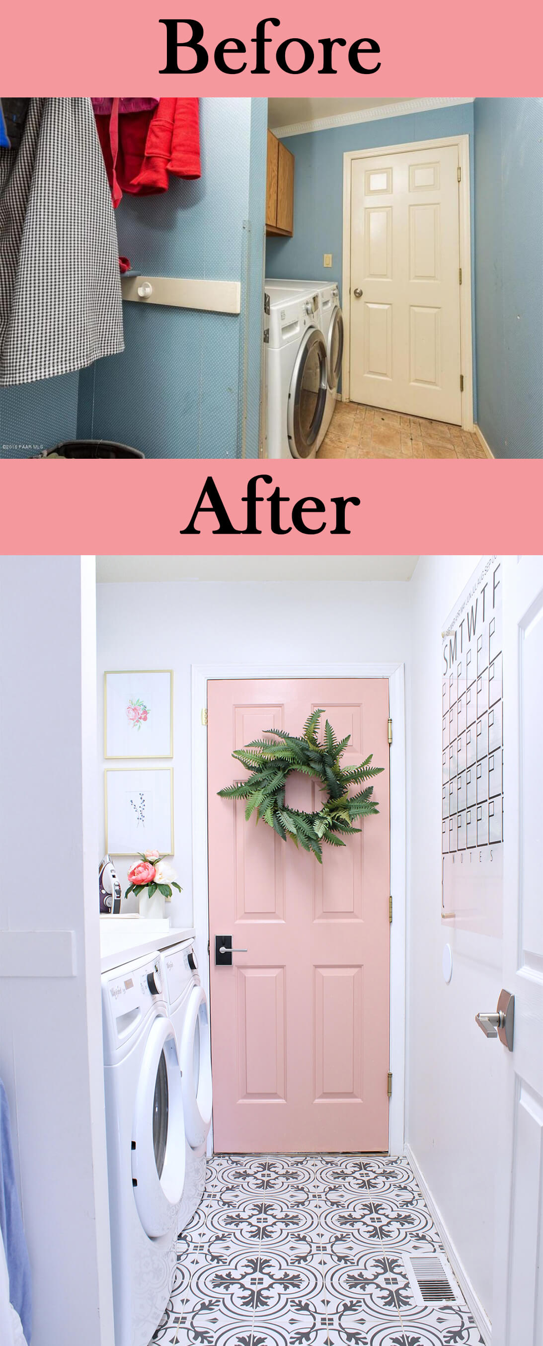 Updated Floor and Pretty in Pink Door