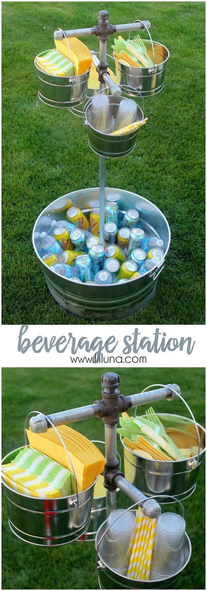 Easy Outdoor Cooler with Bucket and Ice