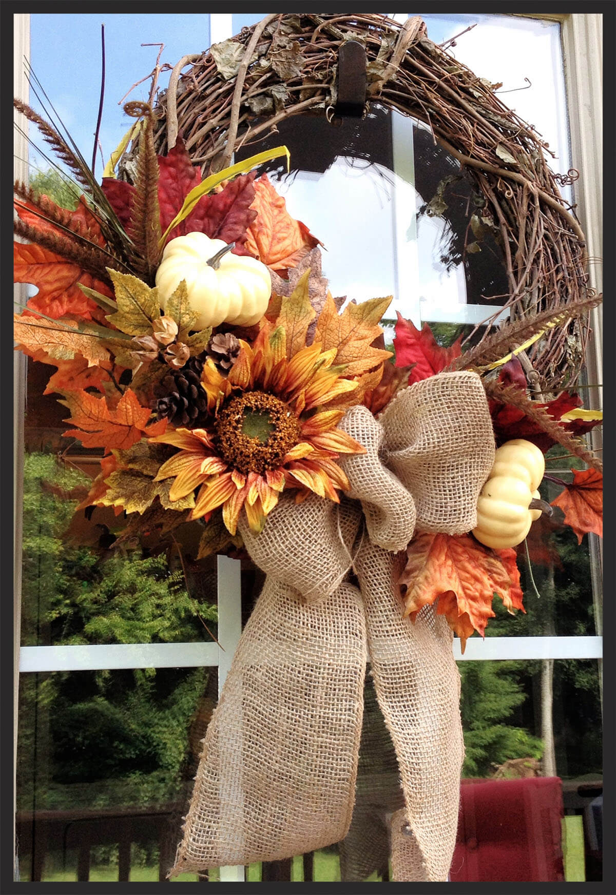 Big Beautiful Burlap Bow and Flower Arrangement